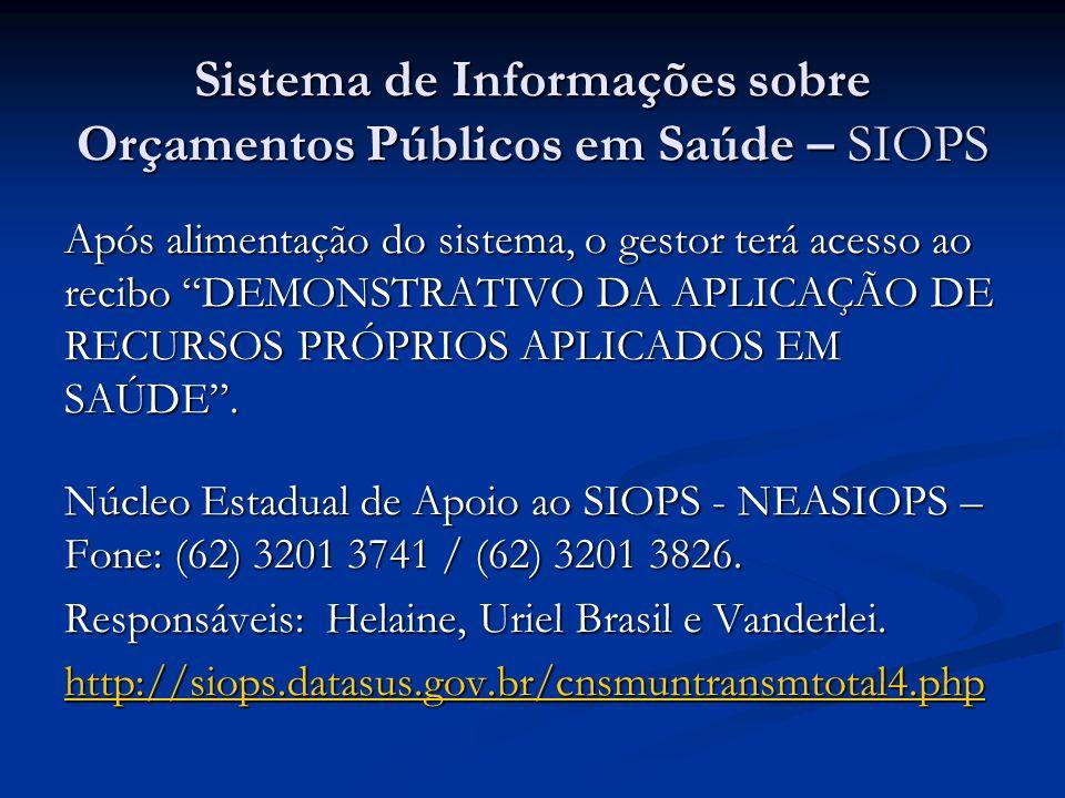 Sistema de Informações sobre Orçamentos Públicos em Saúde – SIOPS