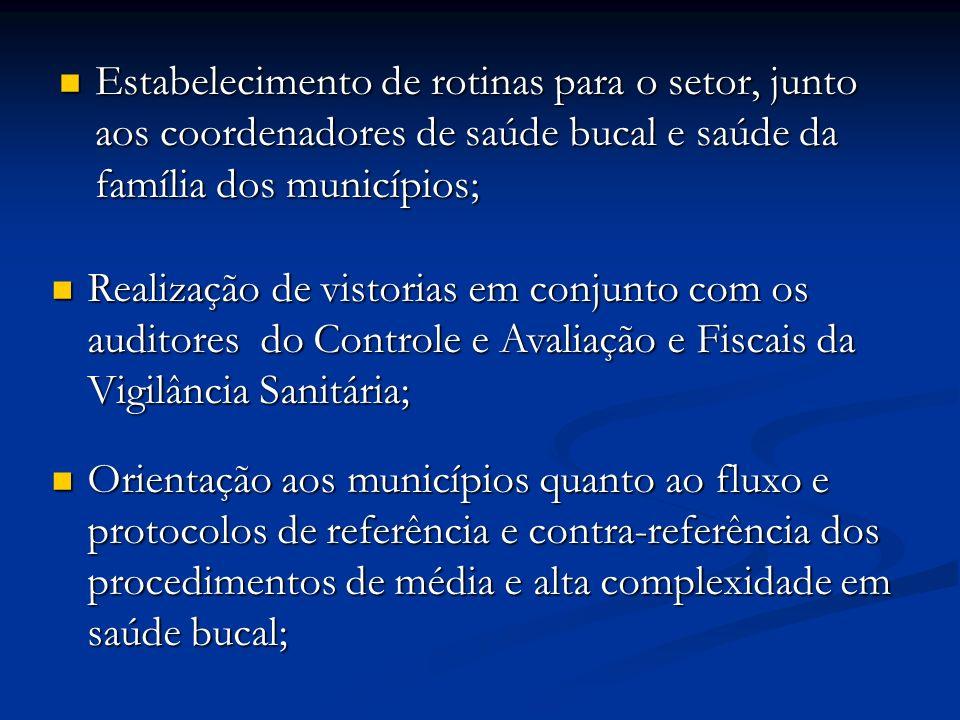 Estabelecimento de rotinas para o setor, junto aos coordenadores de saúde bucal e saúde da família dos municípios;