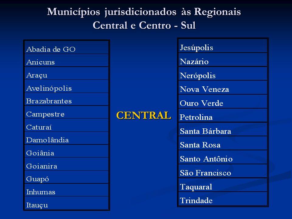 Municípios jurisdicionados às Regionais Central e Centro - Sul