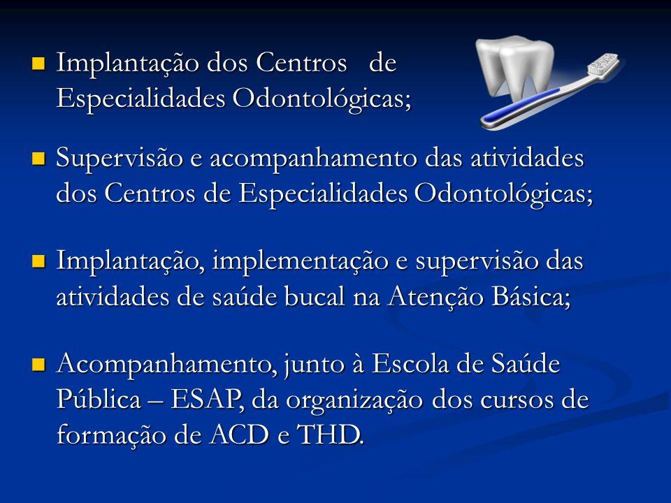 Implantação dos Centros de Especialidades Odontológicas;