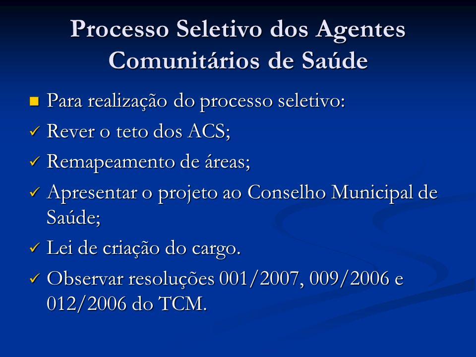 Processo Seletivo dos Agentes Comunitários de Saúde