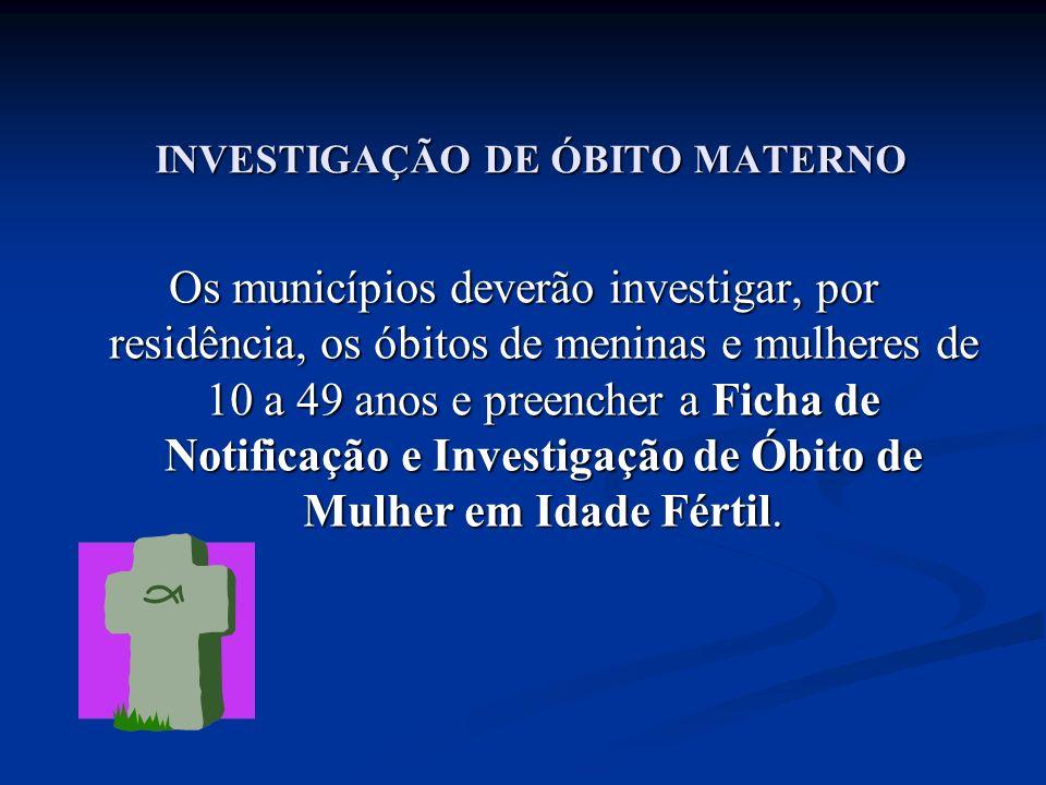 INVESTIGAÇÃO DE ÓBITO MATERNO