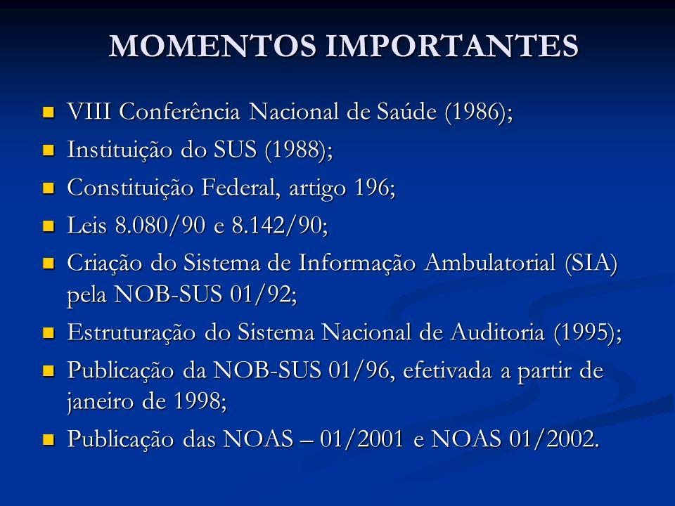 MOMENTOS IMPORTANTES VIII Conferência Nacional de Saúde (1986);