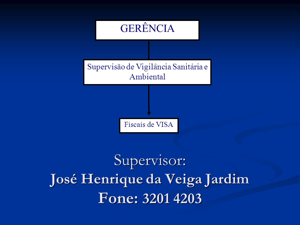 Supervisor: José Henrique da Veiga Jardim Fone: 3201 4203