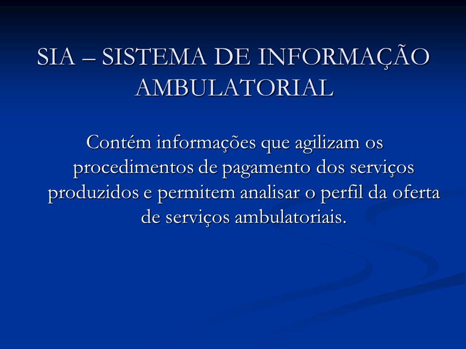 SIA – SISTEMA DE INFORMAÇÃO AMBULATORIAL