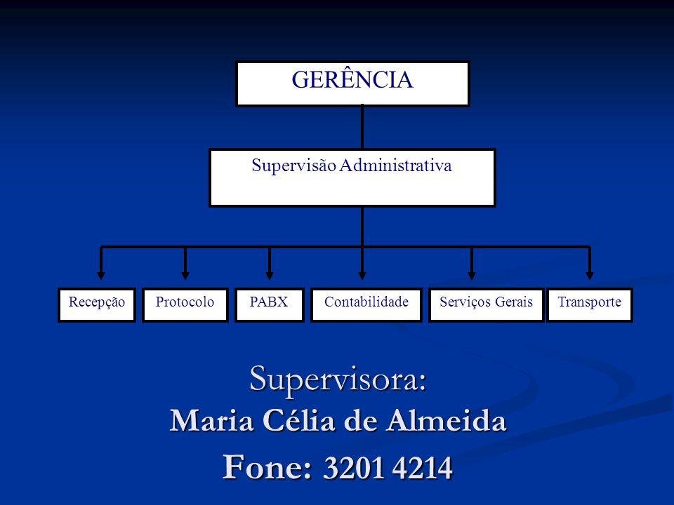 Supervisora: Maria Célia de Almeida Fone: 3201 4214