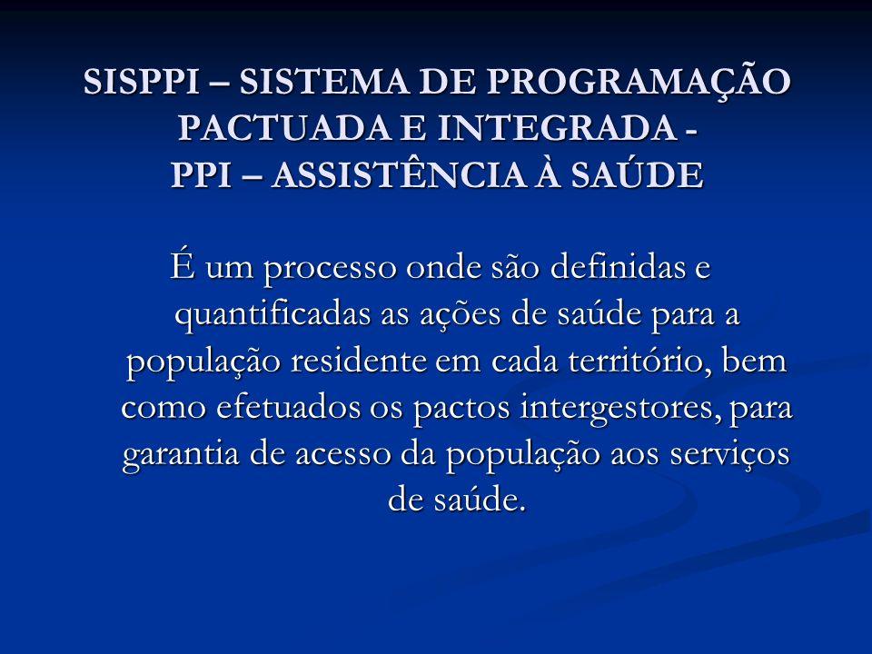 SISPPI – SISTEMA DE PROGRAMAÇÃO PACTUADA E INTEGRADA - PPI – ASSISTÊNCIA À SAÚDE