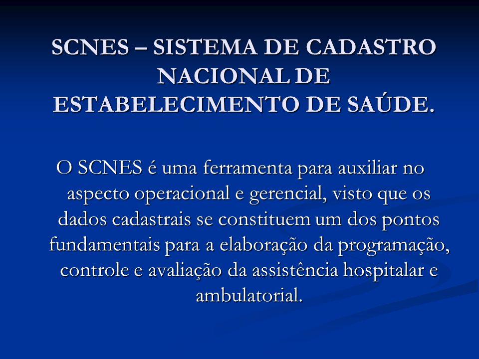 SCNES – SISTEMA DE CADASTRO NACIONAL DE ESTABELECIMENTO DE SAÚDE.