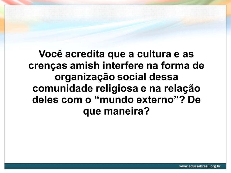 Você acredita que a cultura e as crenças amish interfere na forma de organização social dessa comunidade religiosa e na relação deles com o mundo externo .