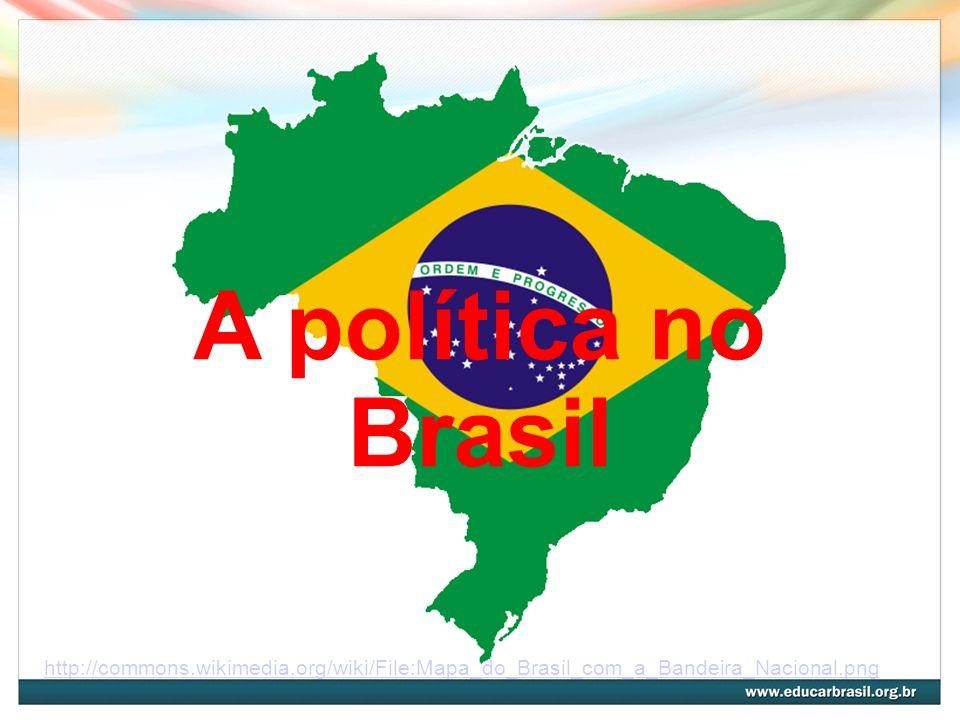 A política no Brasil http://commons.wikimedia.org/wiki/File:Mapa_do_Brasil_com_a_Bandeira_Nacional.png.