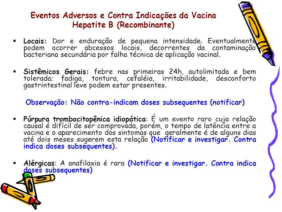Eventos Adversos e Contra Indicações da Vacina Hepatite B (Recombinante)