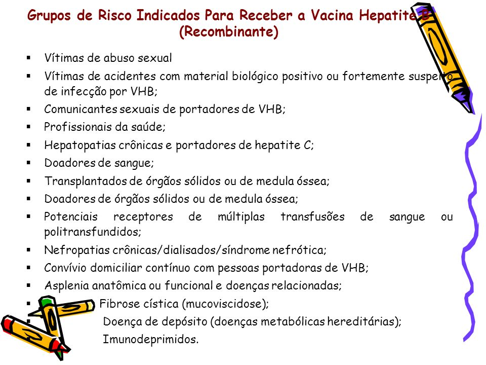 Grupos de Risco Indicados Para Receber a Vacina Hepatite B (Recombinante)