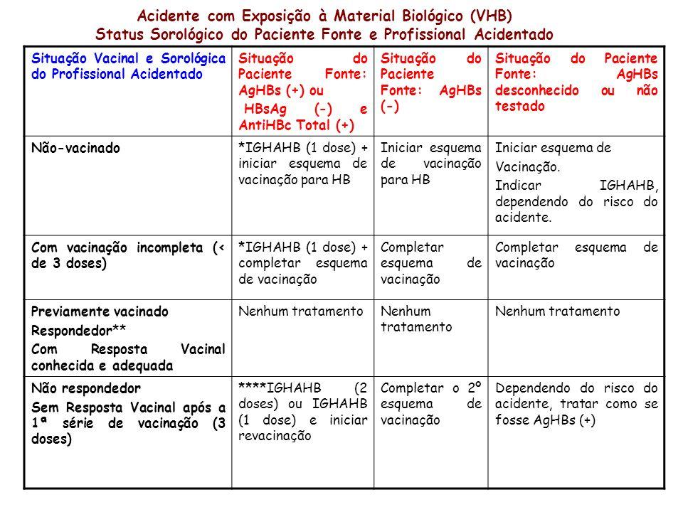 Acidente com Exposição à Material Biológico (VHB) Status Sorológico do Paciente Fonte e Profissional Acidentado