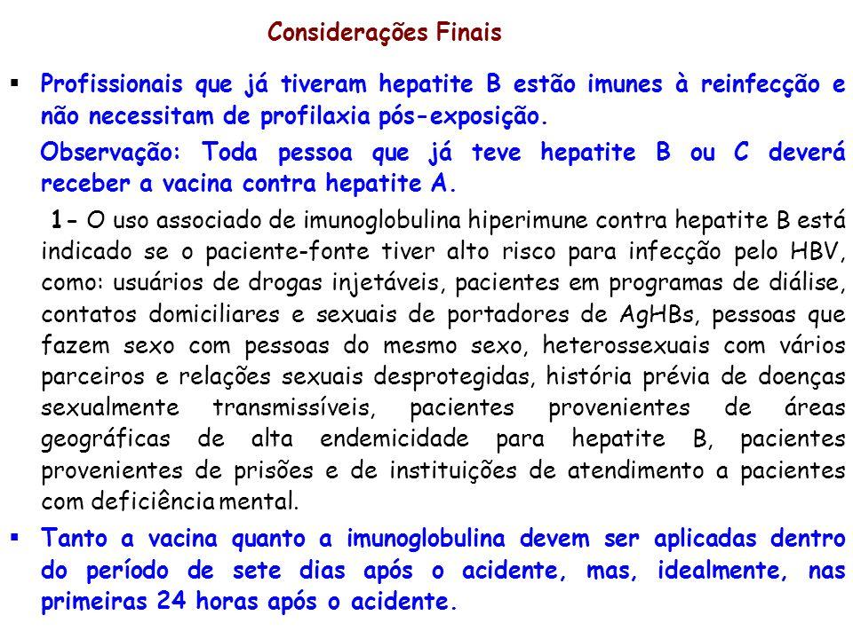 Considerações FinaisProfissionais que já tiveram hepatite B estão imunes à reinfecção e não necessitam de profilaxia pós-exposição.