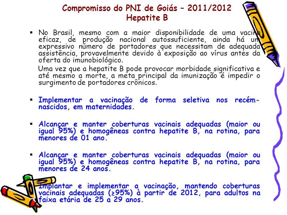 Compromisso do PNI de Goiás – 2011/2012 Hepatite B
