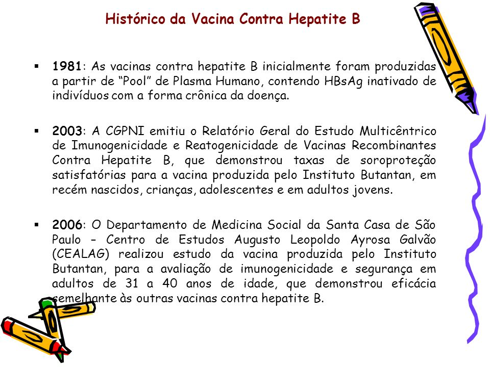 Histórico da Vacina Contra Hepatite B