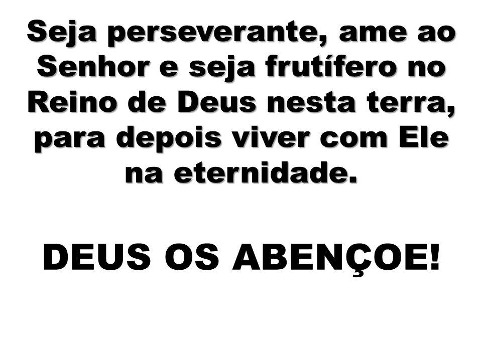 Seja perseverante, ame ao Senhor e seja frutífero no Reino de Deus nesta terra, para depois viver com Ele na eternidade.