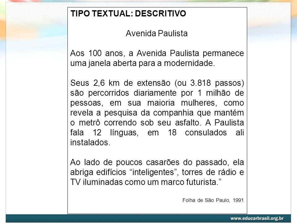 TIPO TEXTUAL: DESCRITIVO Avenida Paulista