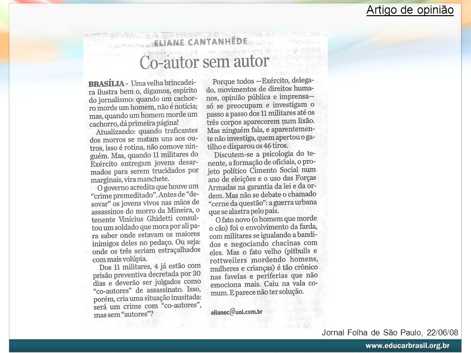 Artigo de opinião Jornal Folha de São Paulo, 22/06/08