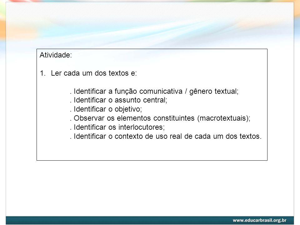 Atividade: Ler cada um dos textos e: . Identificar a função comunicativa / gênero textual; . Identificar o assunto central;