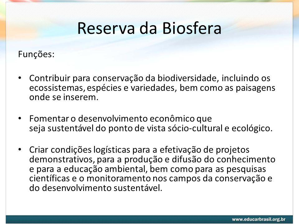 Reserva da Biosfera Funções: