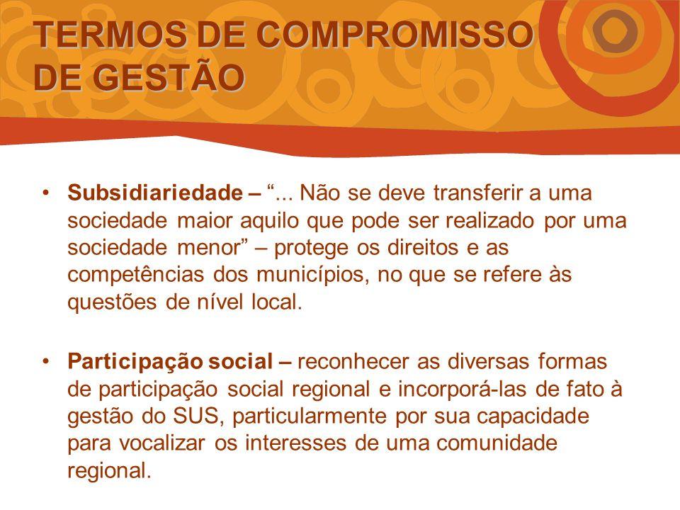 TERMOS DE COMPROMISSO DE GESTÃO