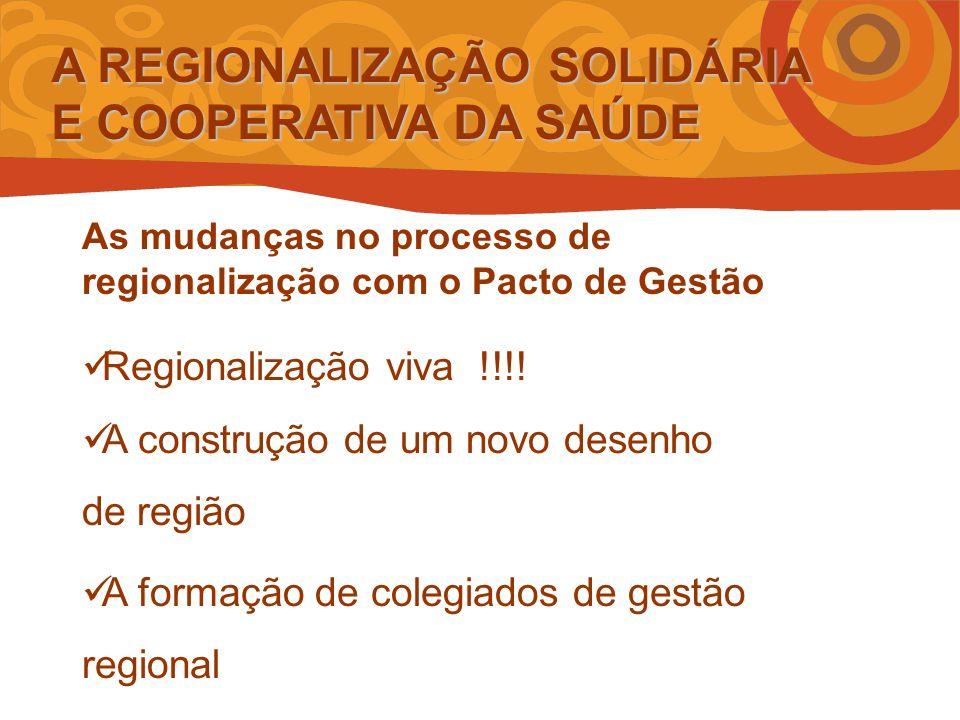 A REGIONALIZAÇÃO SOLIDÁRIA E COOPERATIVA DA SAÚDE