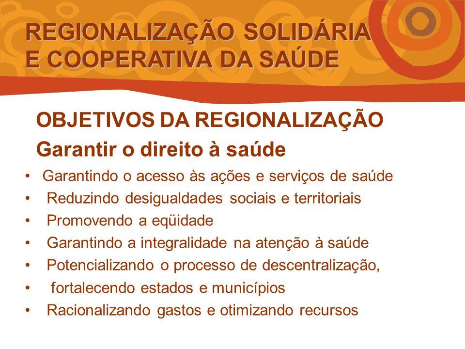 REGIONALIZAÇÃO SOLIDÁRIA E COOPERATIVA DA SAÚDE