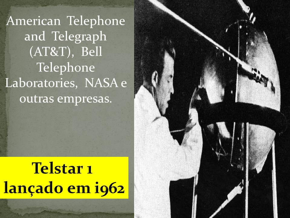 Telstar 1 lançado em i962 American Telephone and Telegraph