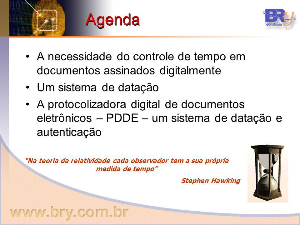 Agenda A necessidade do controle de tempo em documentos assinados digitalmente. Um sistema de datação.