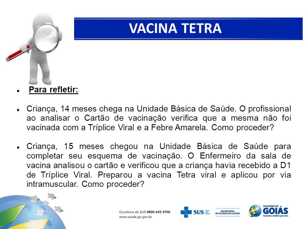 VACINA TETRA VIRAL Para refletir: