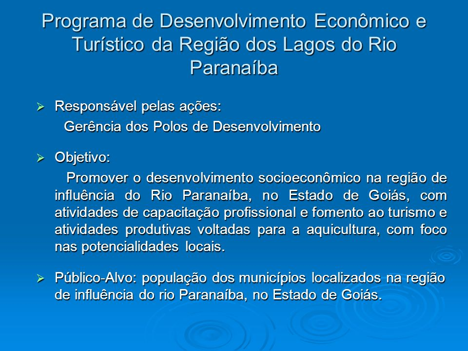 Programa de Desenvolvimento Econômico e Turístico da Região dos Lagos do Rio Paranaíba