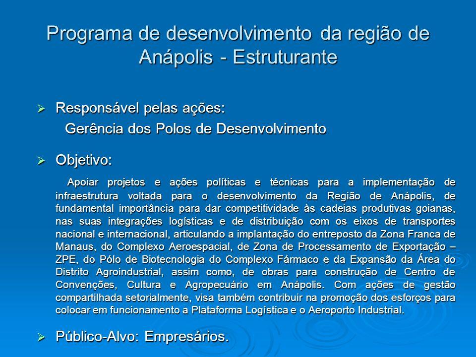Programa de desenvolvimento da região de Anápolis - Estruturante