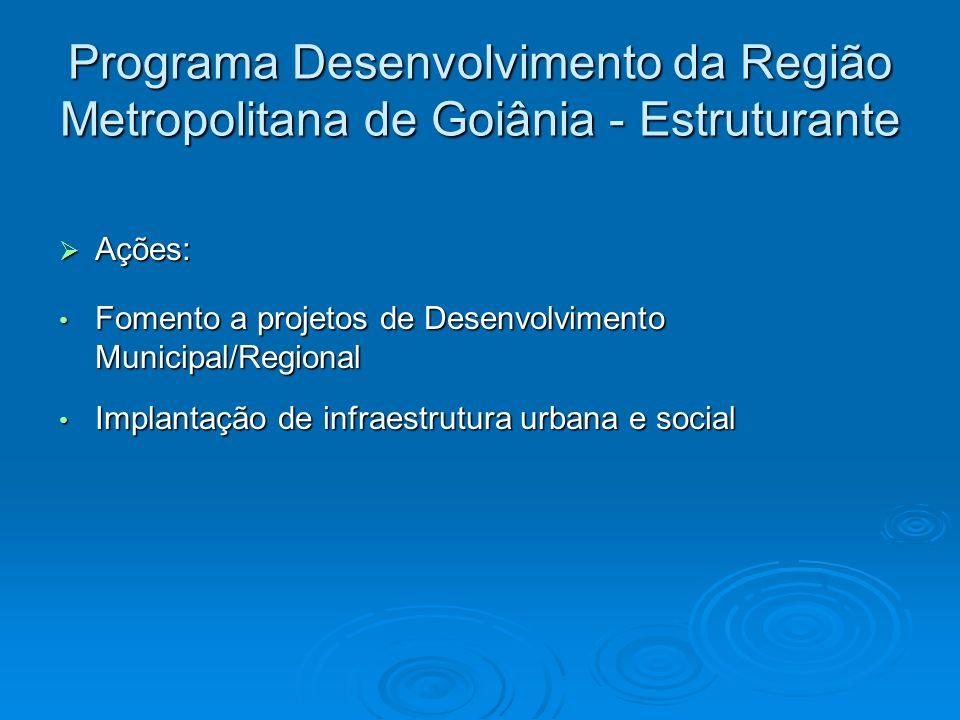 Programa Desenvolvimento da Região Metropolitana de Goiânia - Estruturante