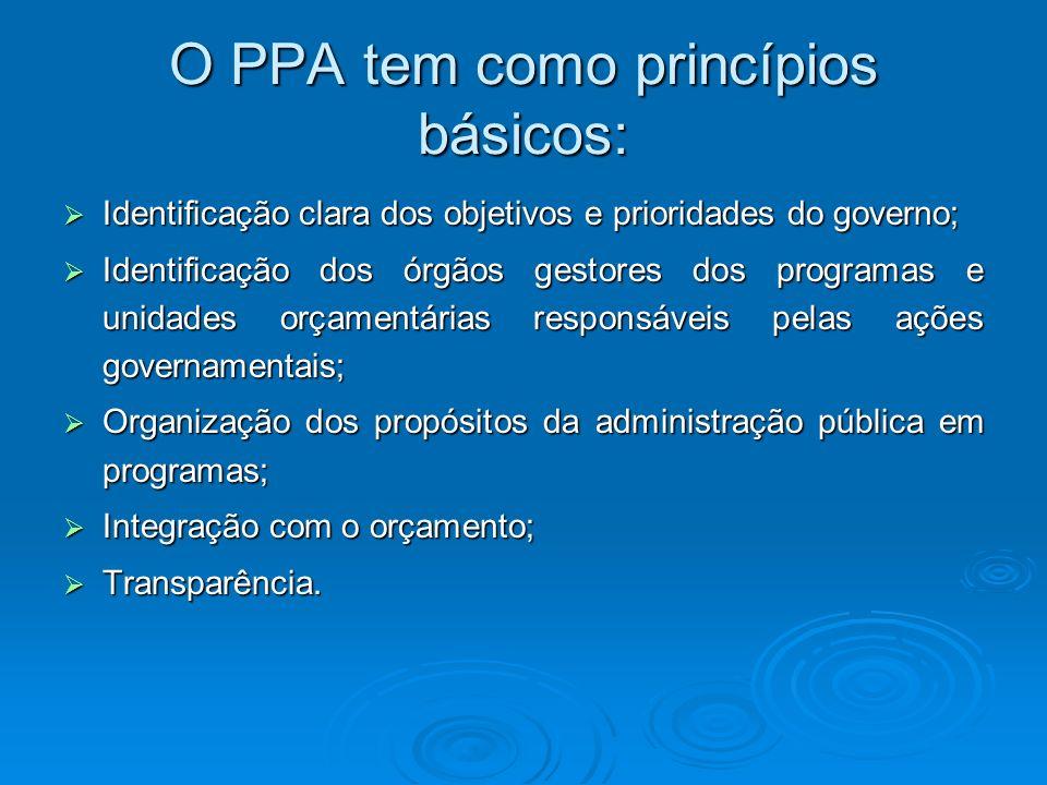 O PPA tem como princípios básicos: