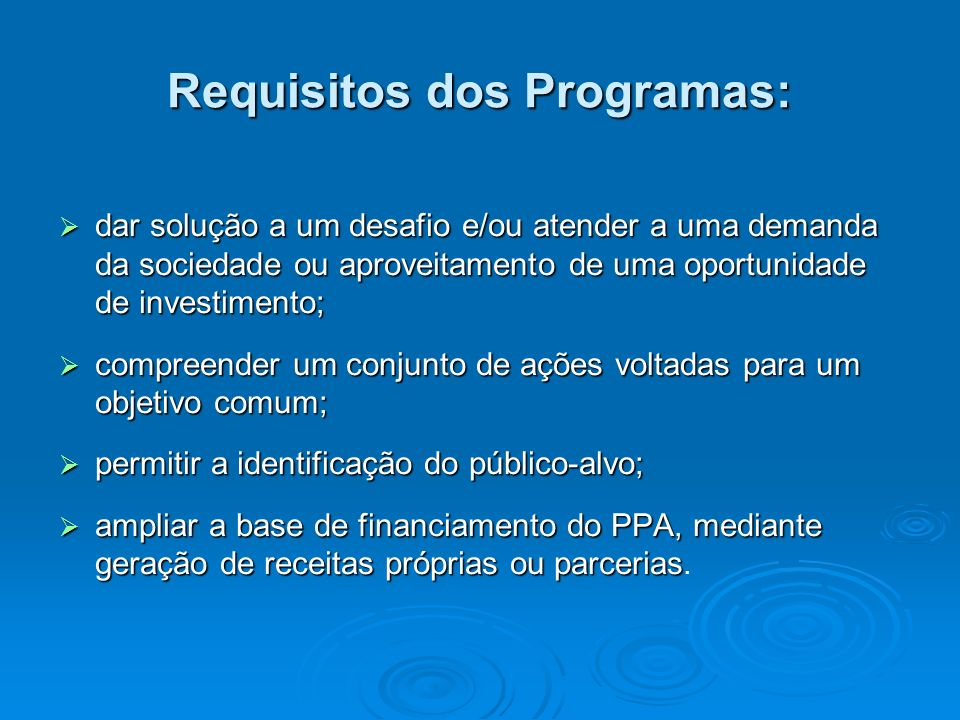 Requisitos dos Programas: