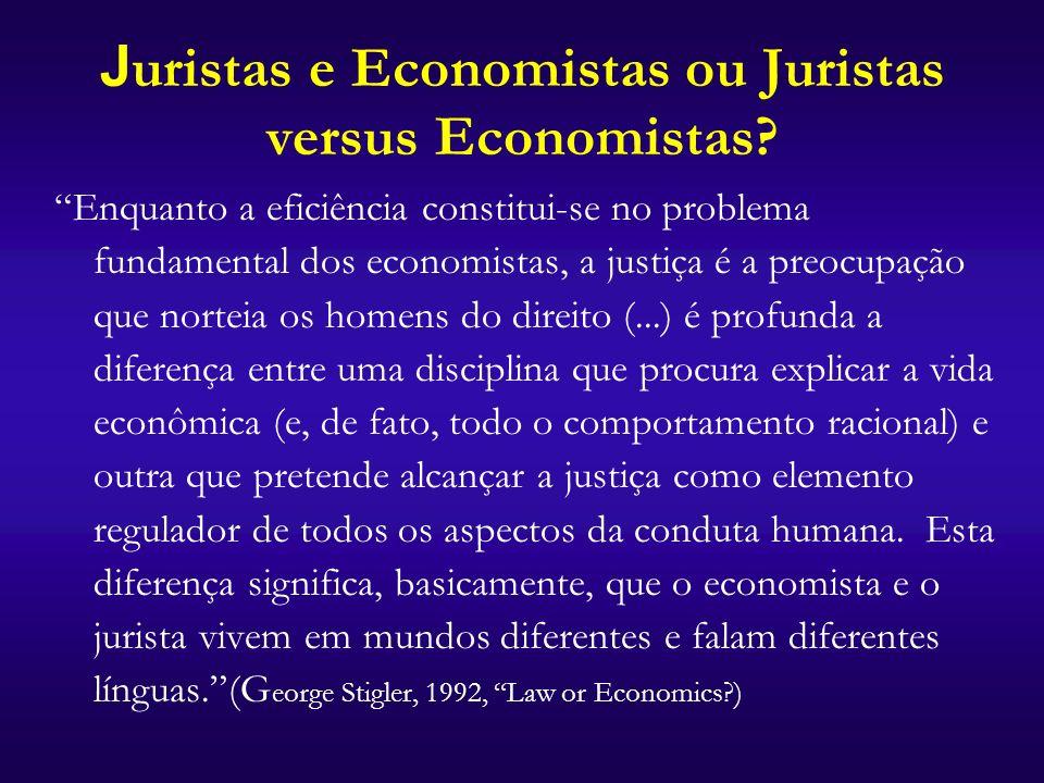 Juristas e Economistas ou Juristas versus Economistas