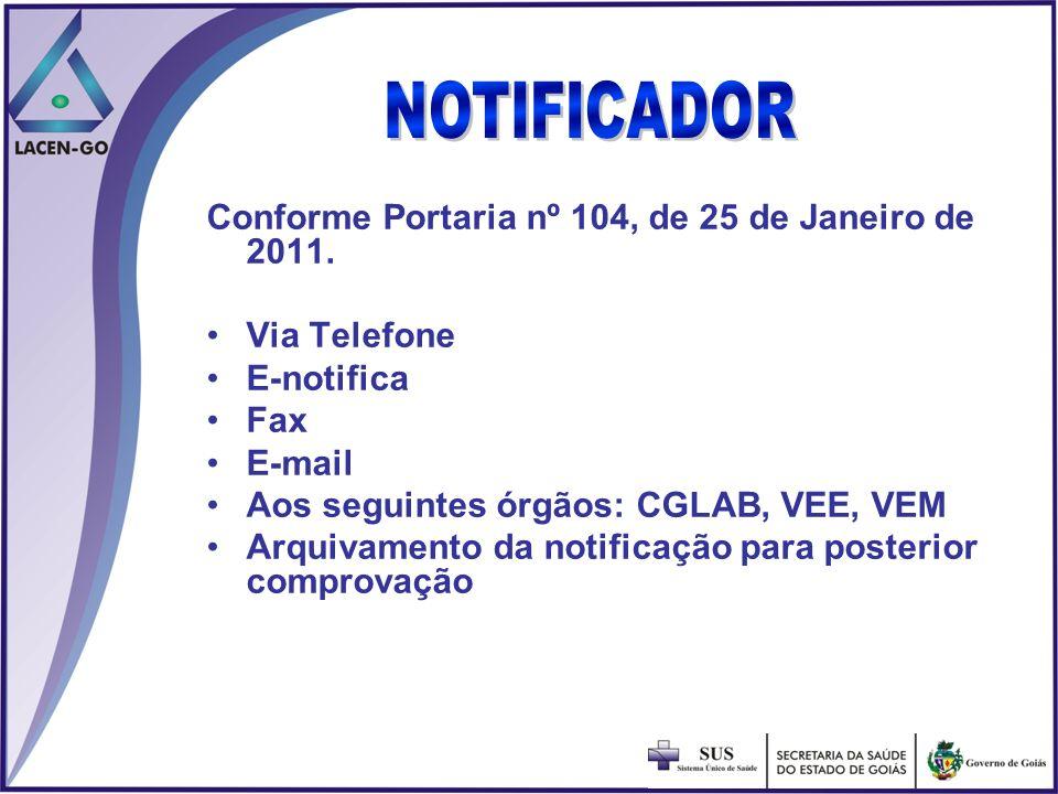 NOTIFICADORConforme Portaria nº 104, de 25 de Janeiro de 2011. Via Telefone. E-notifica. Fax. E-mail.