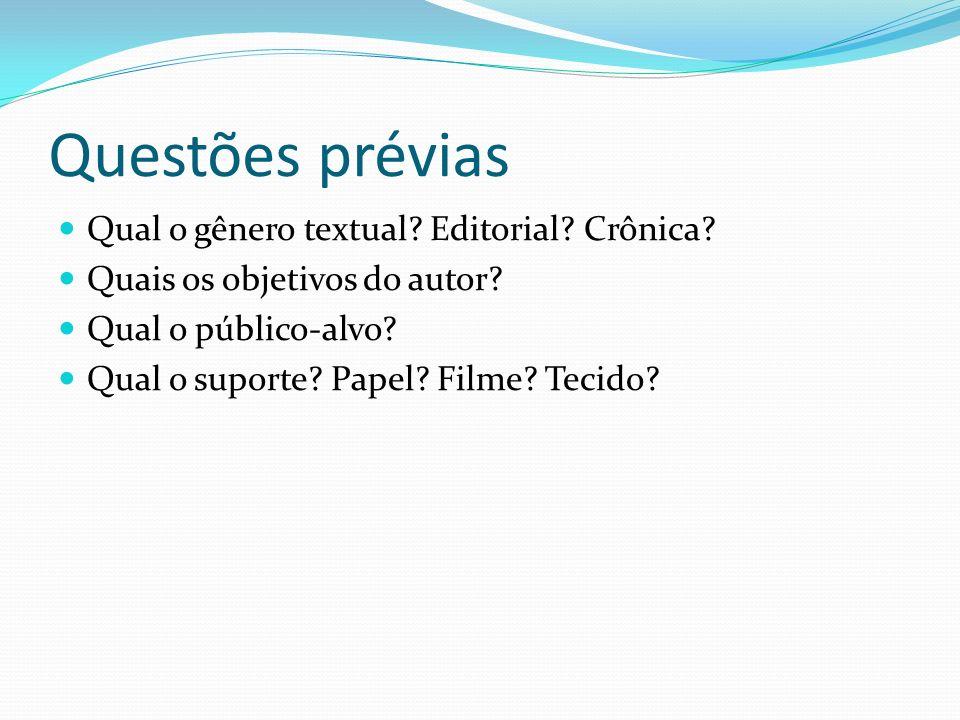 Questões prévias Qual o gênero textual Editorial Crônica