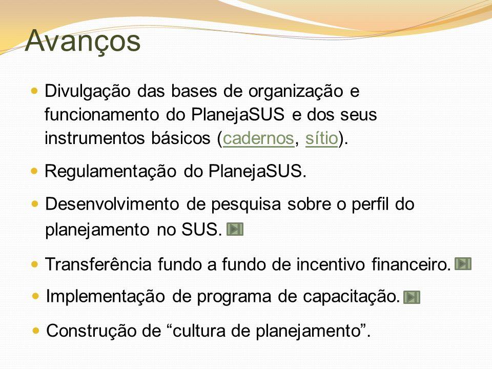 AvançosDivulgação das bases de organização e funcionamento do PlanejaSUS e dos seus instrumentos básicos (cadernos, sítio).