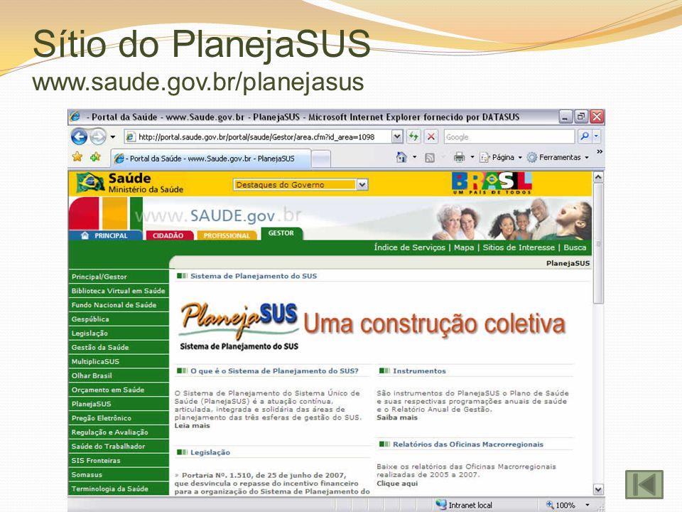 Sítio do PlanejaSUS www.saude.gov.br/planejasus