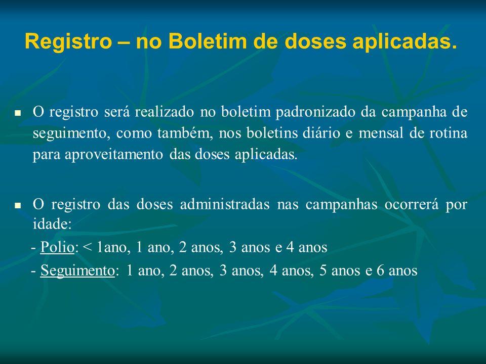 Registro – no Boletim de doses aplicadas.