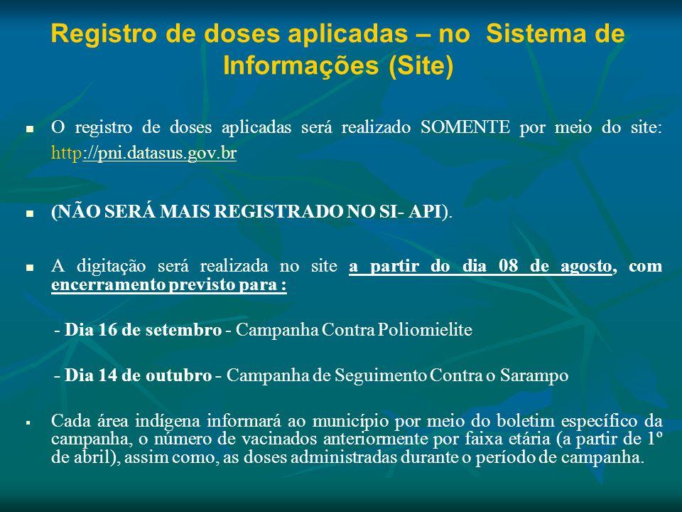 Registro de doses aplicadas – no Sistema de Informações (Site)