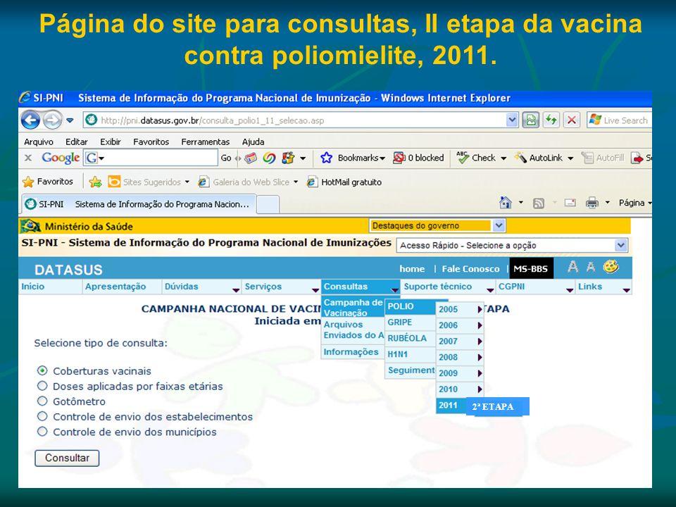 Página do site para consultas, II etapa da vacina contra poliomielite, 2011.