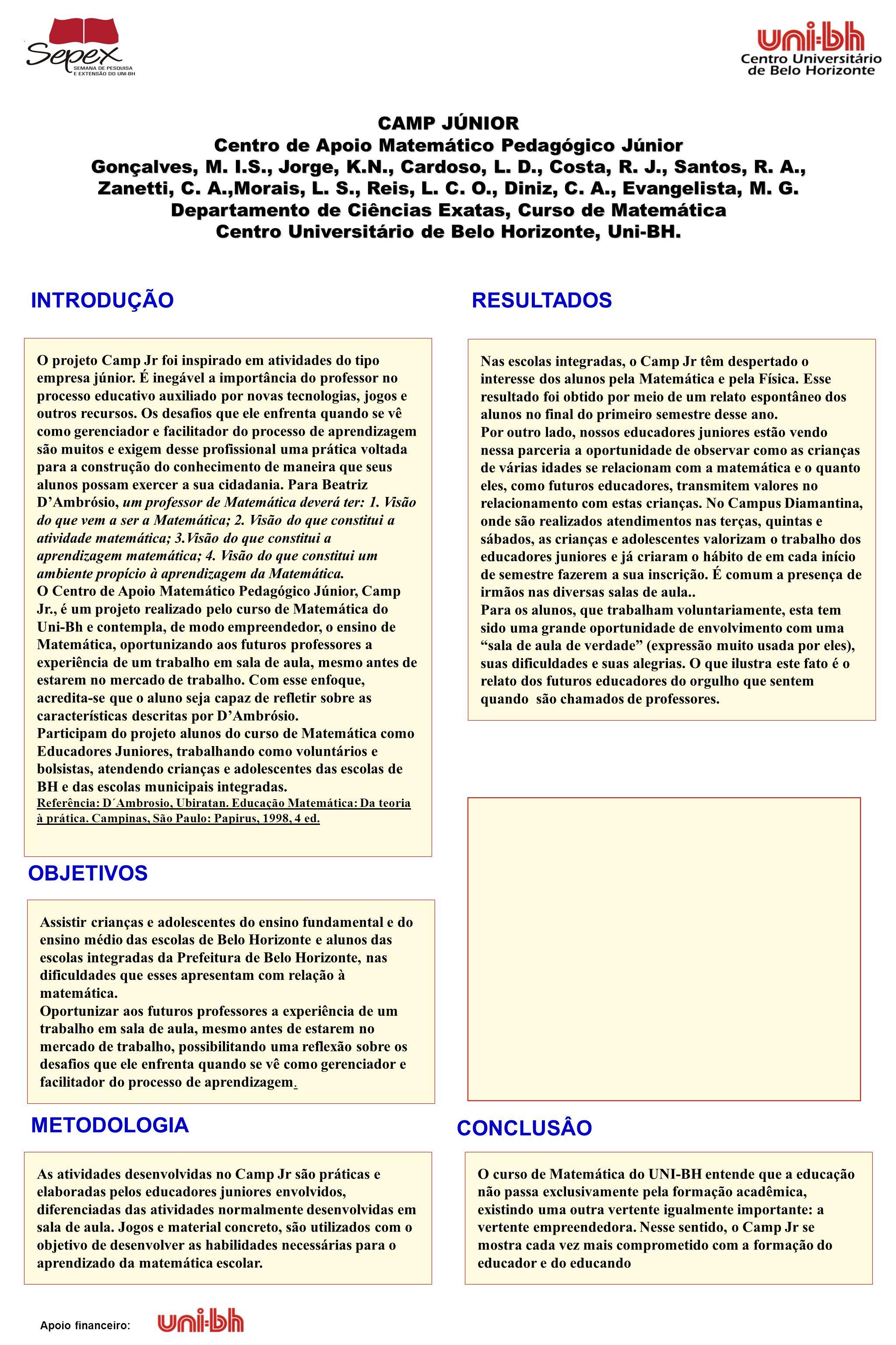 INTRODUÇÃO RESULTADOS OBJETIVOS METODOLOGIA CONCLUSÂO CAMP JÚNIOR