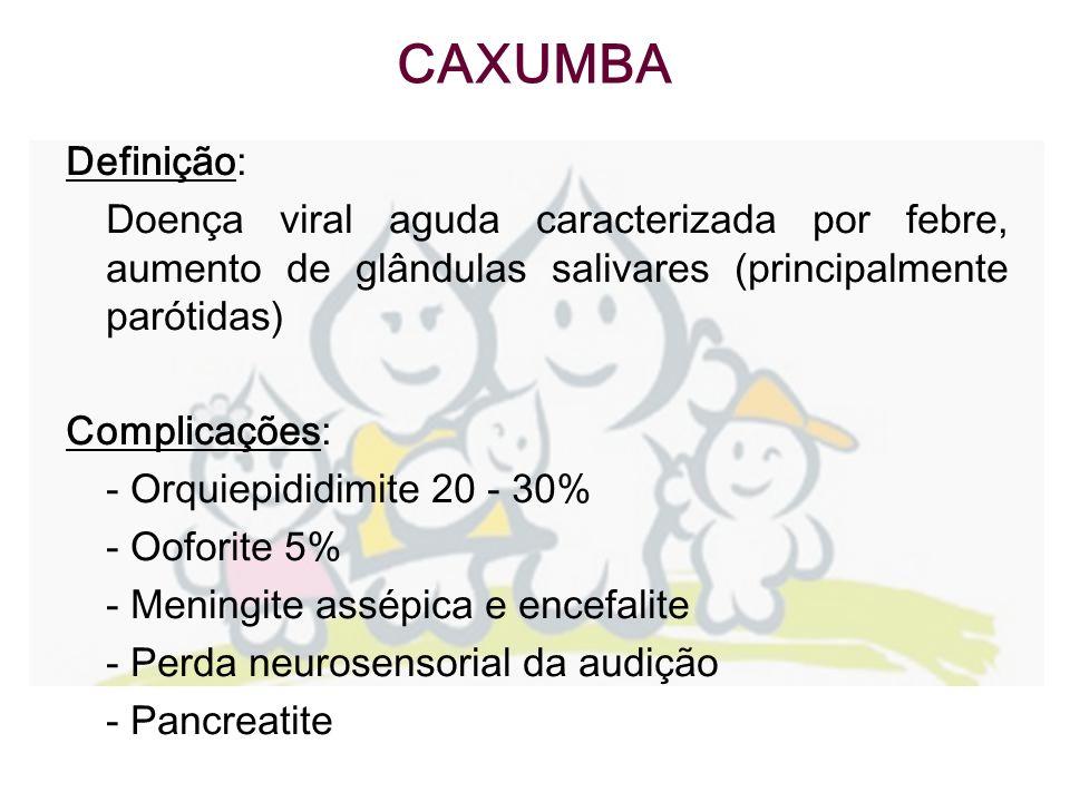 CAXUMBA Definição: Doença viral aguda caracterizada por febre, aumento de glândulas salivares (principalmente parótidas)