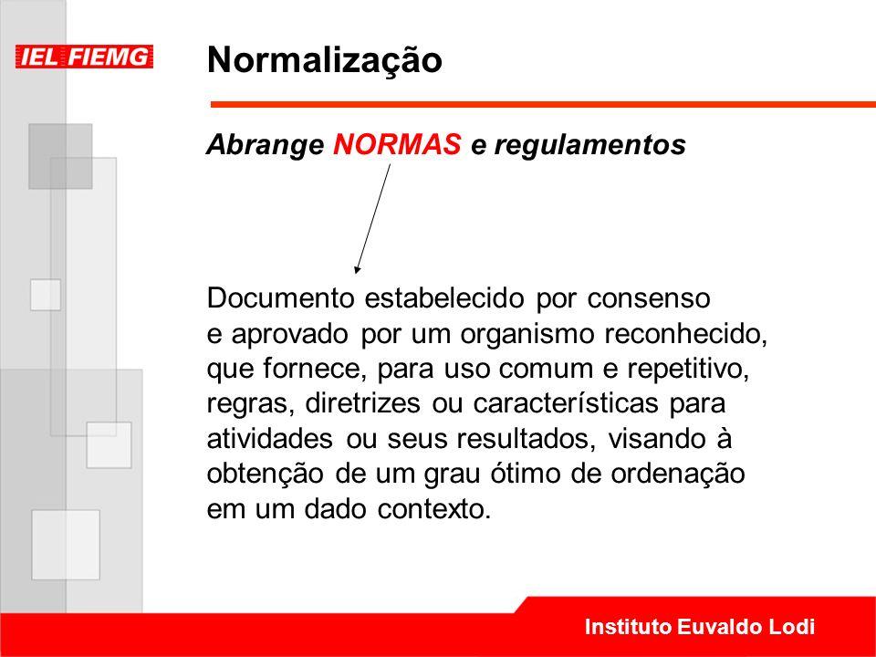 Normalização Abrange NORMAS e regulamentos