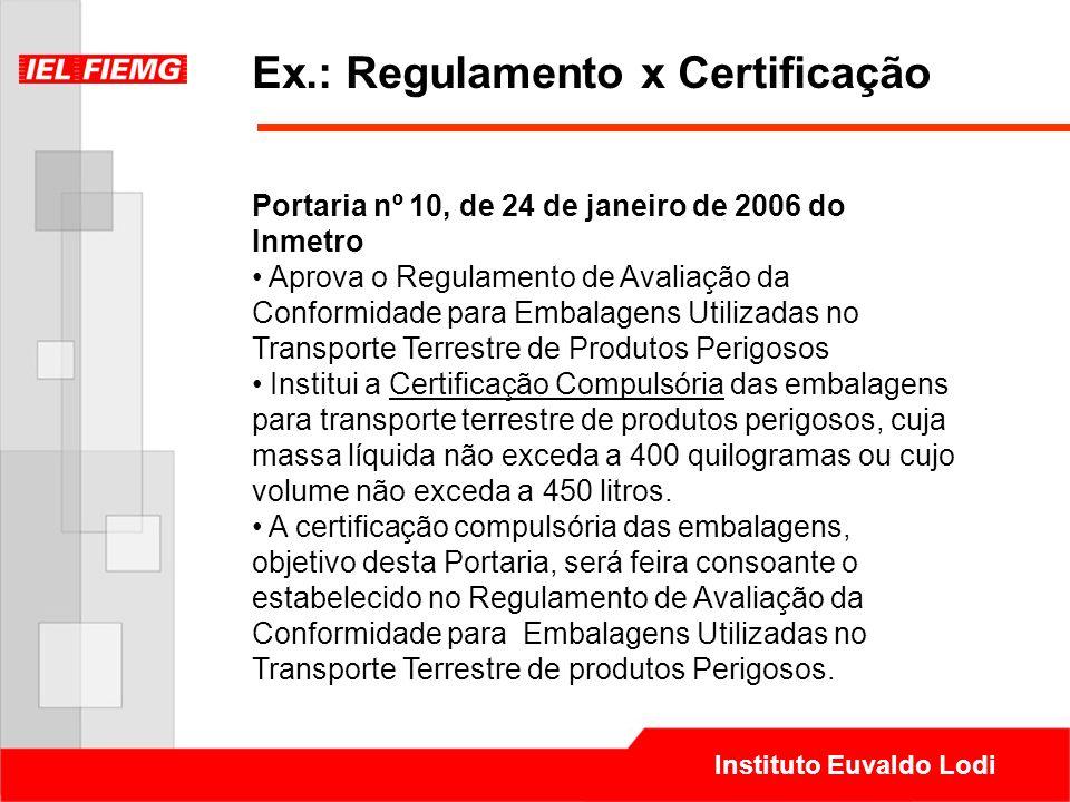 Ex.: Regulamento x Certificação
