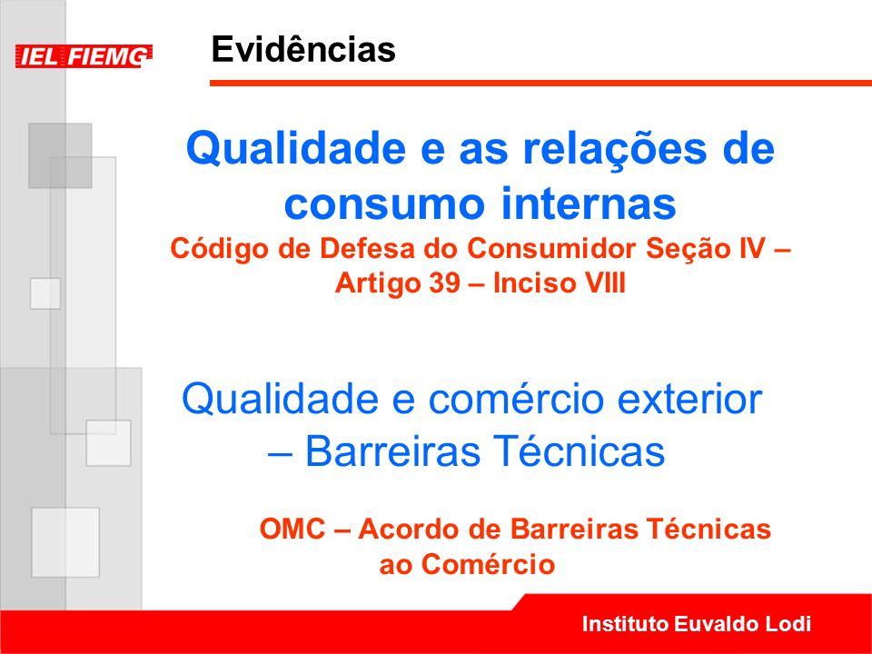 Evidências Qualidade e as relações de consumo internas Código de Defesa do Consumidor Seção IV – Artigo 39 – Inciso VIII.