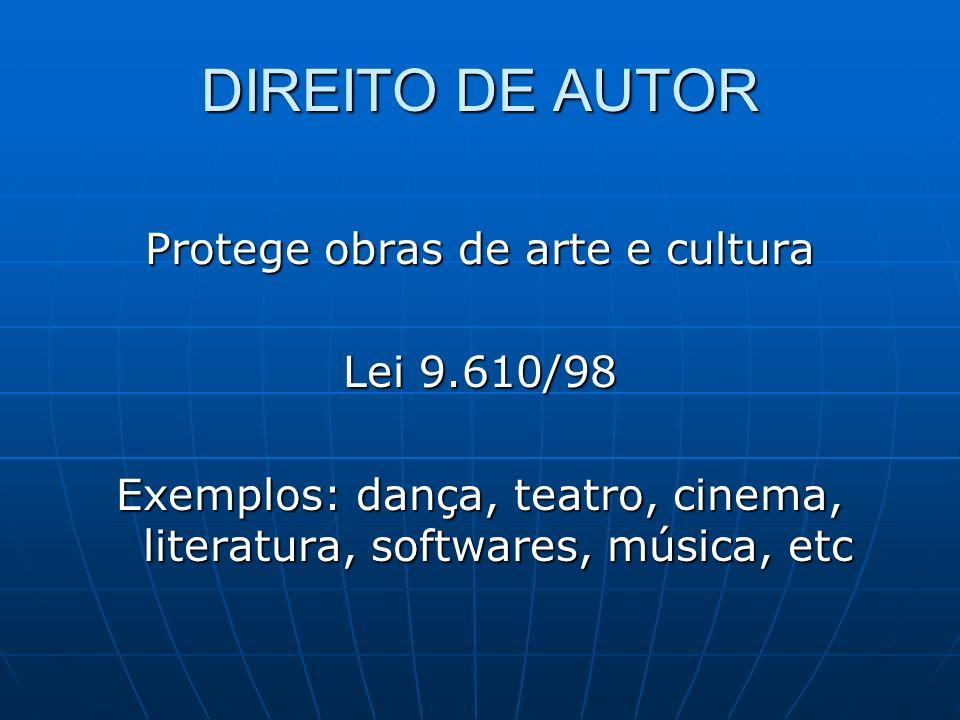 DIREITO DE AUTOR Protege obras de arte e cultura Lei 9.610/98